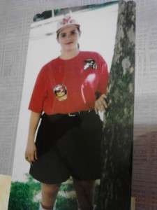 Forgive the shoddy picture quality. It's a picture of a picture in a scrapbook. This was my favorite uniform shirt to wear on Friday nights.