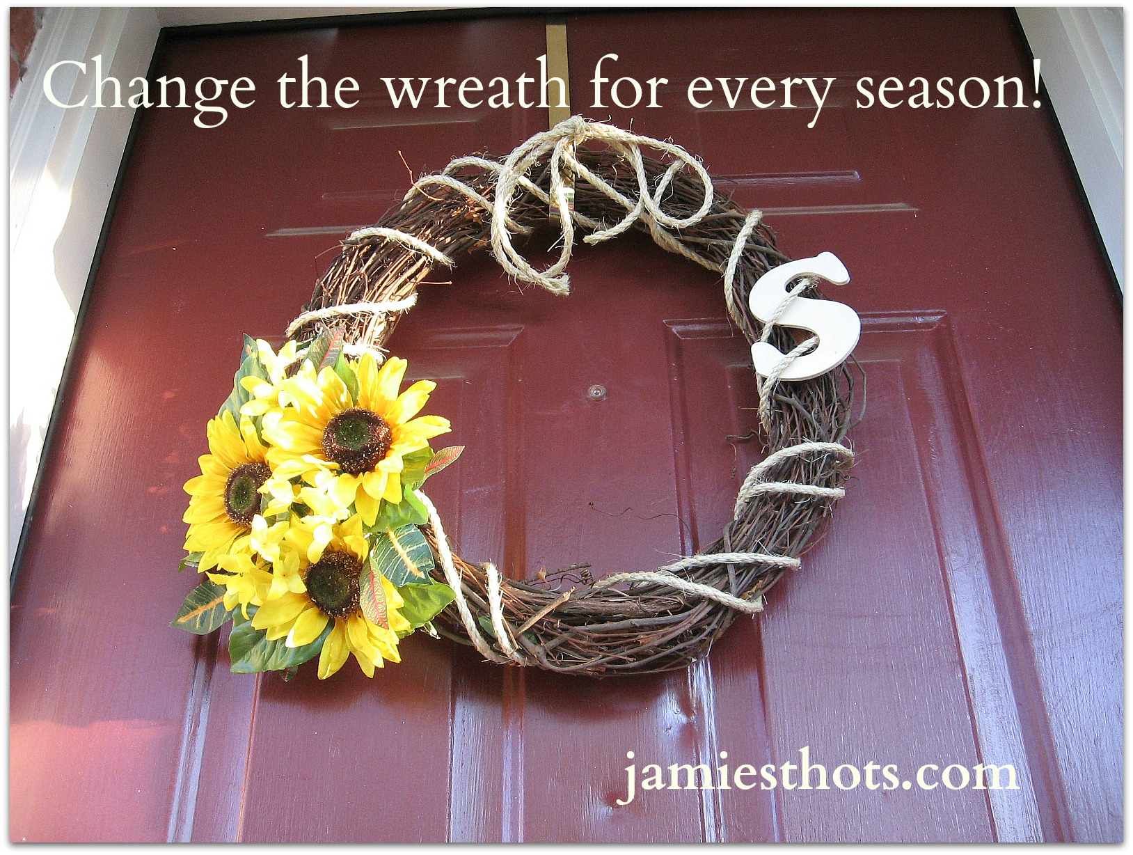 Easy peasy Pinterest-inspired door wreath for all seasons