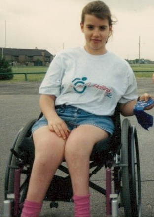 This was a few years later but it's the only digital picture I have of me at the wheelchair track races. I was practicing for those races when I first met Sasha back in the late 1980s. From what I can see, this picture was taken in 1992.