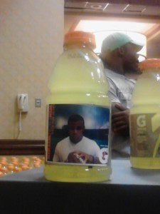 Gatorade offered a cool new booth where players could have their picture taken in front of a green screen and then printed picture could then be placed on a Gatorade bottle to create a personalized label. How creative is that?