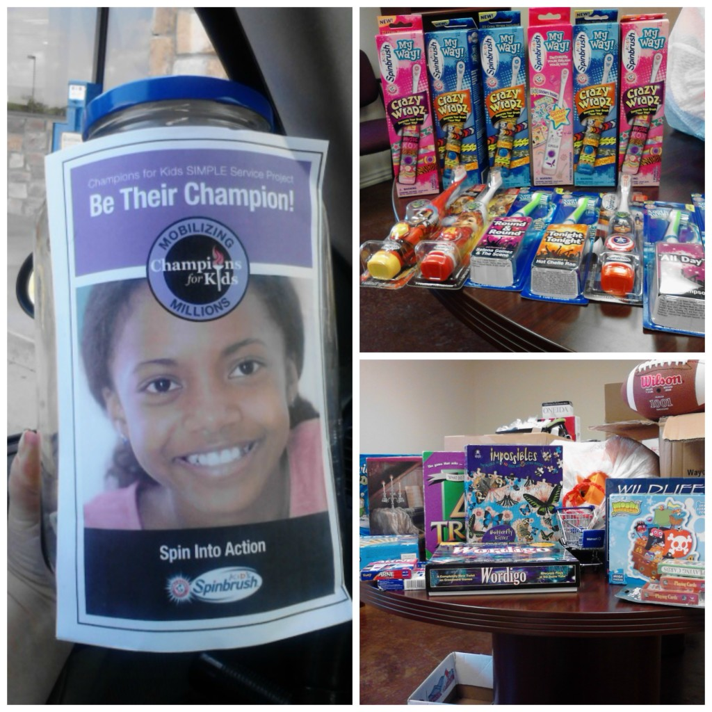 Donations included money, toothbrushes and toothpaste, and books, puzzles, toys and other items for kids.