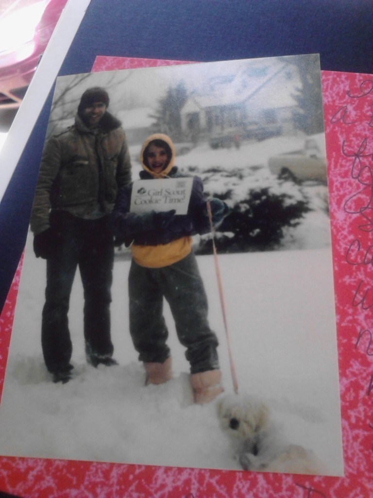 This picture of me, my dad and the family dog is from the 1980s when I was a Girl Scout Brownie. A blizzard wasn't going to stop me from selling those cookies! Thankfully we can get the same great flavor at Walmart now.