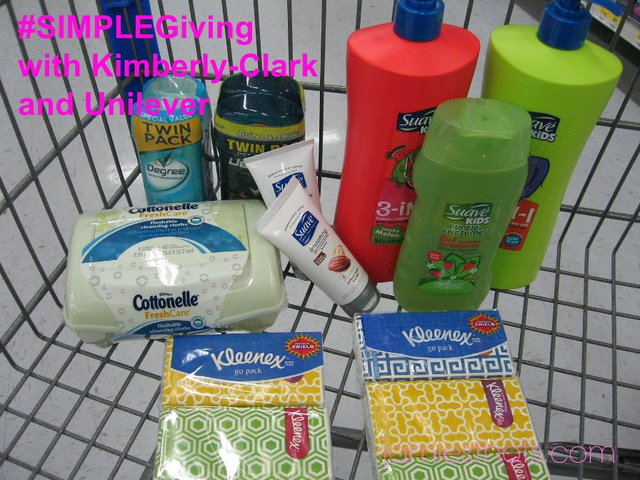 I chose slightly different items by the same brands from Unilever and Kimberly-Clark but you can make donating items like these simple by getting what's in the Champions for Kids displays at your local Walmart.