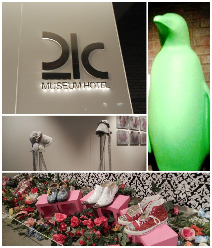 21C is a museum hotel that has rotating exhibits. Several of the exhibits on display for this event showed different kinds of fashion from really fun high-top tennis shoes to jeweled bonnets. Notice the green penguin? That's the hotel's signature. They are all over the hotel.