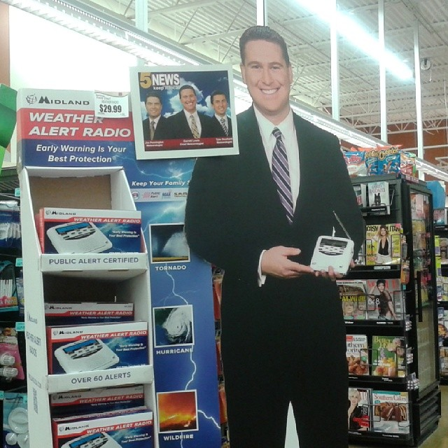 You know it's spring when you see the giant cutout of a local meteorologist urging you to get a weather radio! The above picture is of a recent storm rolling in.
