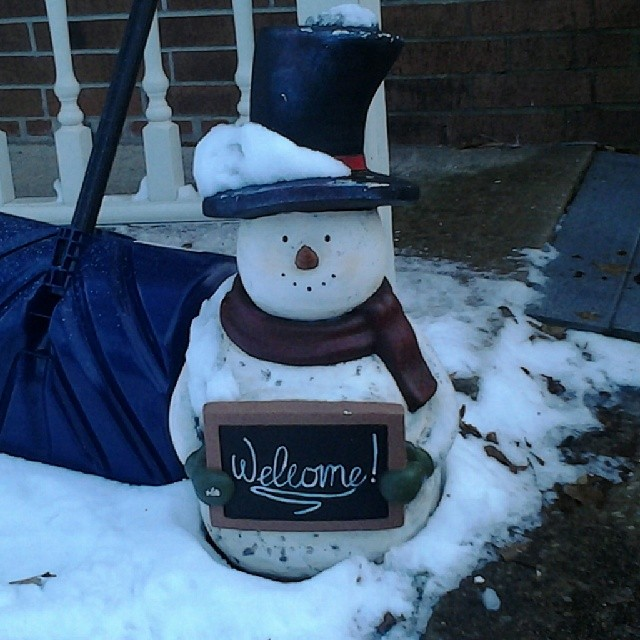 Do you want to build a snowman? I named this yard decoration Olaf. I got this cute picture of him in real snow in February 2014.