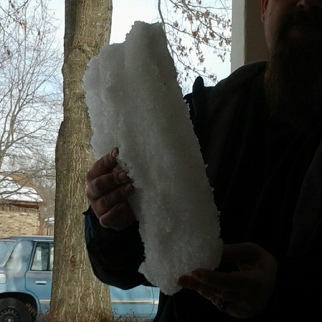 This one block of ice came from our driveway.  March 2014.