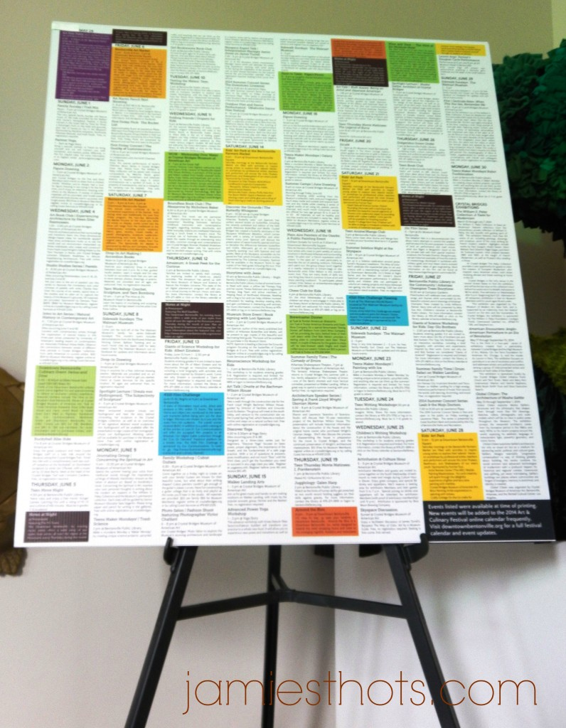 This is the schedule for the Bentonville Art and Culinary Festival. Don't worry, there's a much bigger and readable one available at downtownbeonville.org