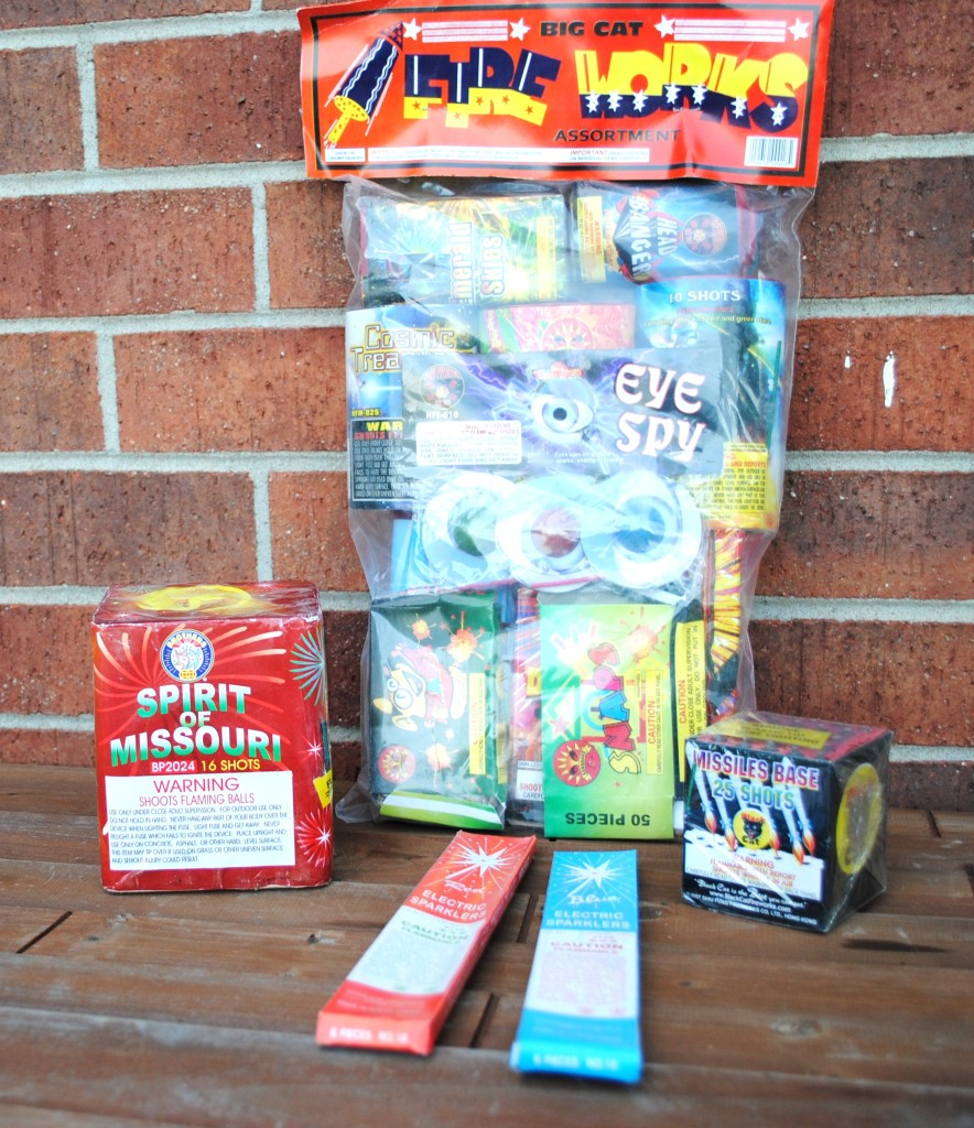 One party pack (that actually had some great stuff in it for not much money), two kinds of sparklers (the red ones were duds), and those other two items that did something cool (don't know which did what).