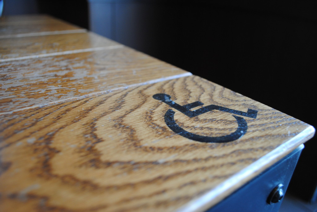 This is the ADA accessible table at a local Starbucks. I love how you can see the definition and wear in the wood.
