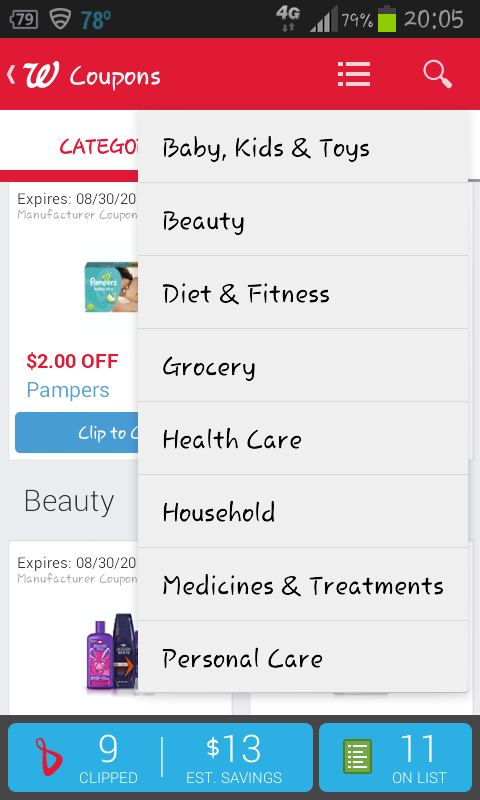 The Walgreens app lets you add both digital coupons and deals from the weekly online ad to your shopping list and it shows you your total expected savings.