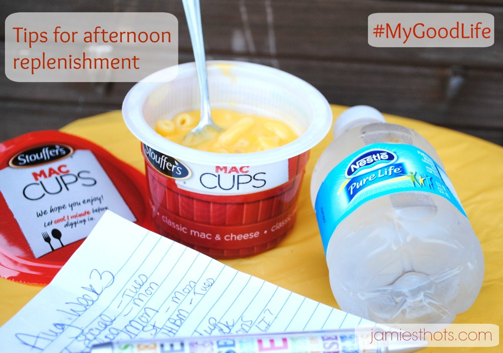 Get tired in the afternoon? Take a break and enjoy new Stouffer's Mac Cups and Nestle Pure Life water.  What other ways do I replenish my resources in the afternoon? Find out.