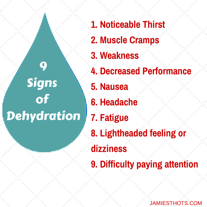 9 Signs of Dehydration: Noticeable Thirst Muscle Cramps Weakness Decreased Performance Nausea Headache Fatigue Lightheaded feeling or dizziness Difficulty paying attention
