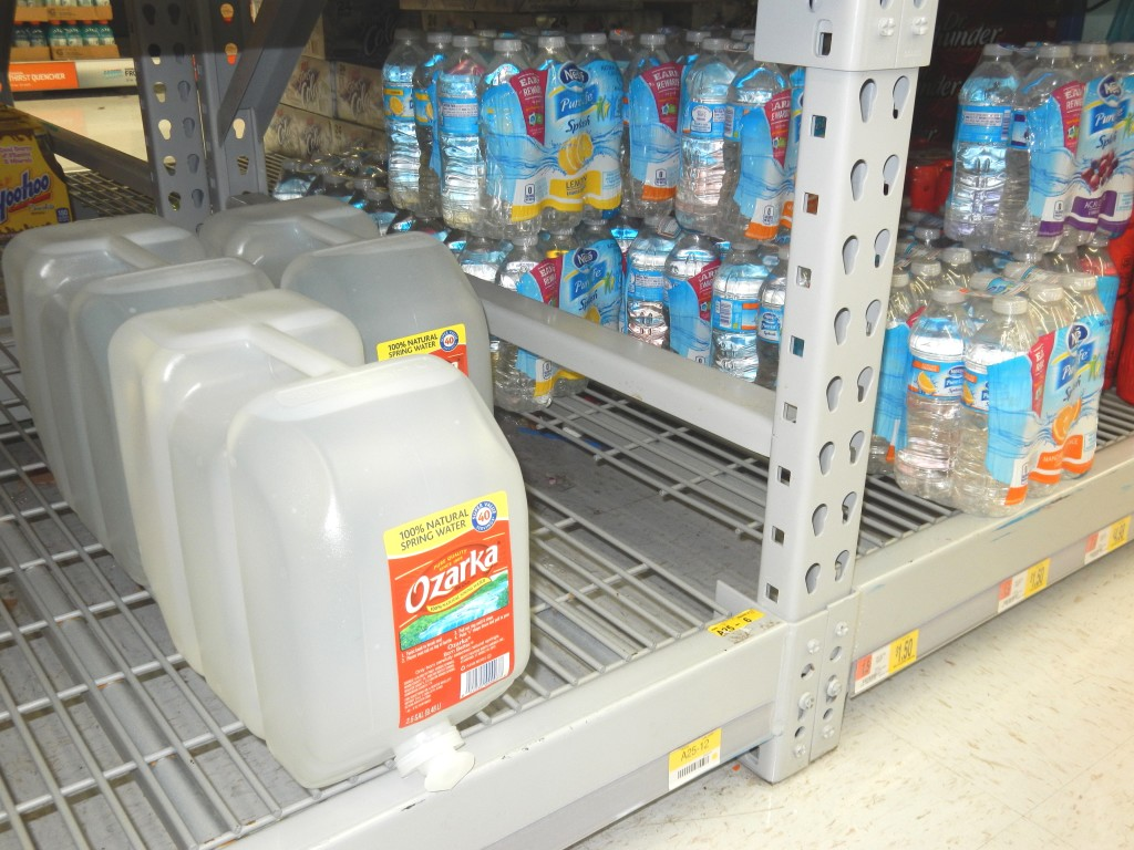 They also have larger bottles that would work great for the fridge. This one is 2.5 gallons. A 5-gallon bottle would be great for an office or home. How awesome would it be to get that at the store instead of having to pay a service to deliver it?