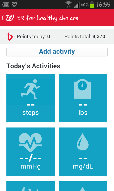 "The app (you can do the same program on the Walgreens website) lets you track pounds lost or gained, physical activity (it lets you add your own so I call mine ""wheeling), pulse-ox, blood pressure, sleep"