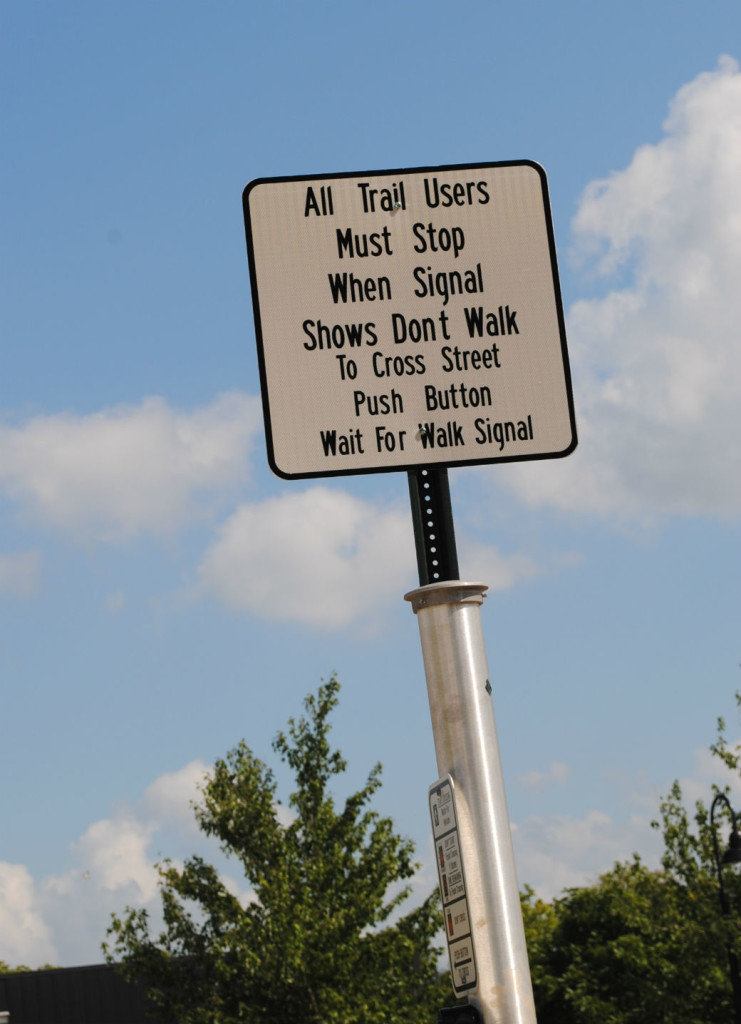 Responsibility for safety also lies with the person using the trail system. Stay in well-lit areas and obey traffic signals and directions. They are there for a reason.