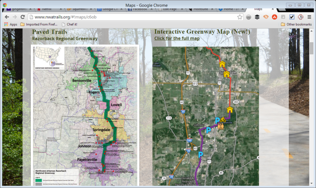 This is a screen shot from the NWA Trails website. It shows the Razorback Greenway.