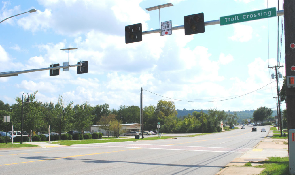 This trail crossing is well marked as it takes the trail across a busy street in south Fayetteville.