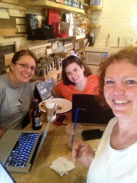 The 3 Amigas at a local coffee shop! Gotta love a three-person selfie. Laurie, Melissa and I love working and chatting together.