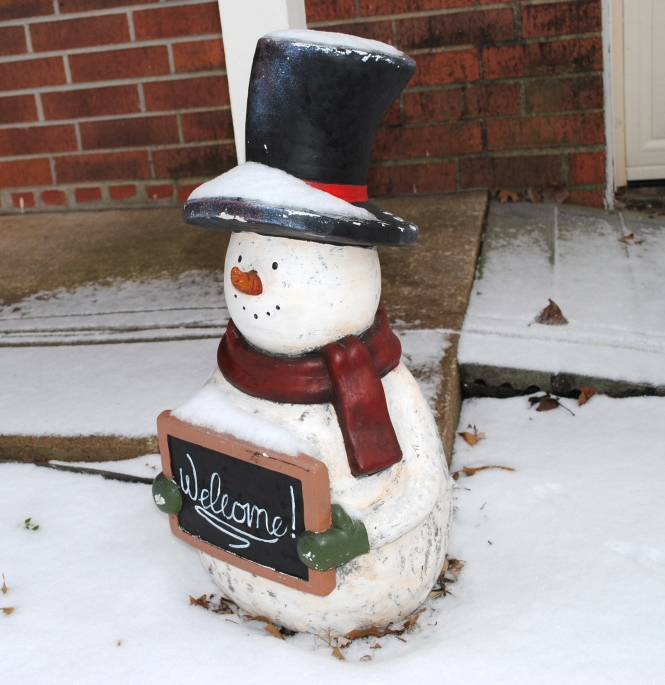 The only snowman you'll find in my yard! Brrr!