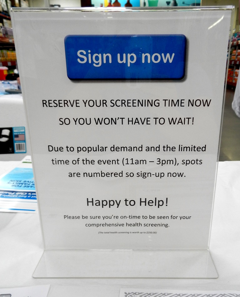 The instructions to sign up for the screenings helps you know when your screening will be so you can either wait or start your shopping.