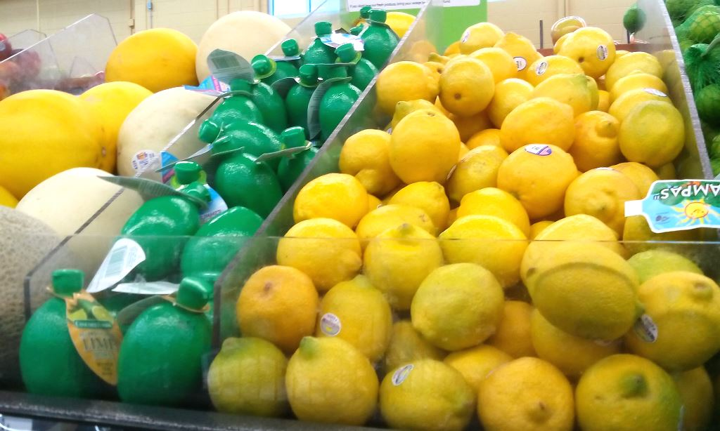 The lime juice was up front with the fruit, instead of the juice aisle like I thought (and where you get lemon juice).