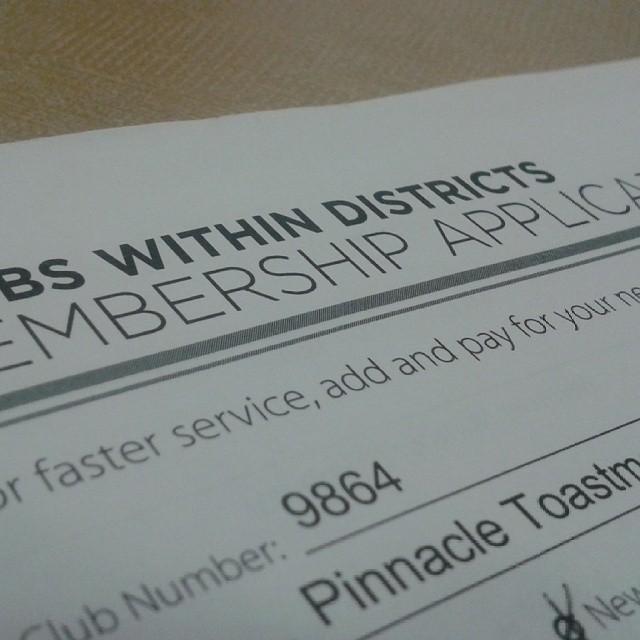 Toastmasters membership application