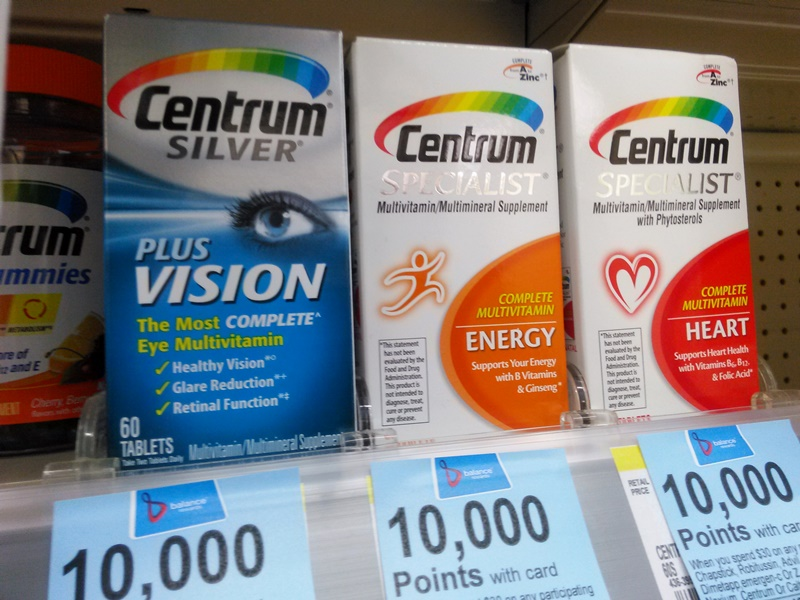 Centrum also makes multivitamins formulated for specific health needs. I often take ones that have more B vitamins, for example.