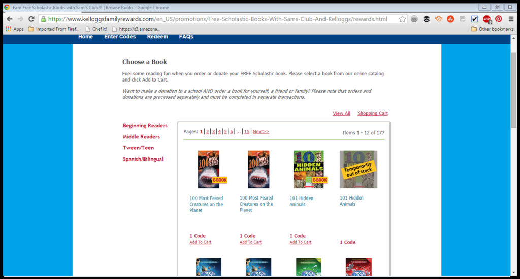 You can choose books based on the type of reader. They have Spanish language books and also ebooks available this year.