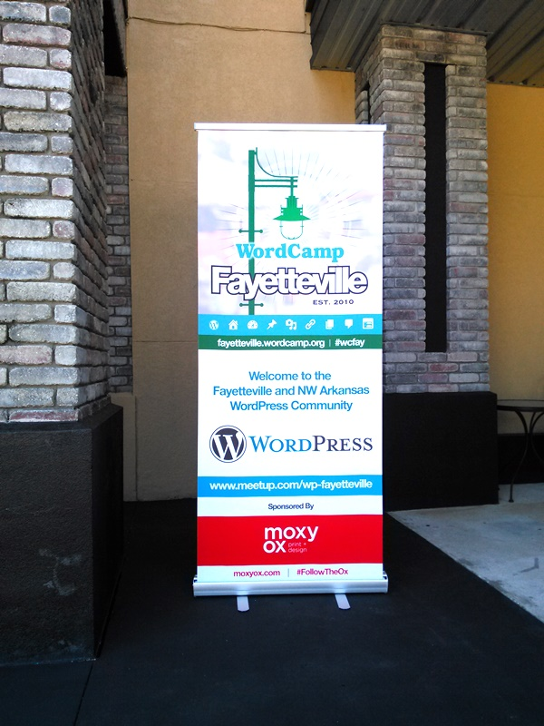 WordCamp Fayetteville sign