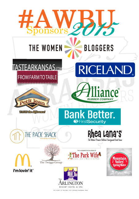 "It might sound cliche to say that ""no conference is possible without the sponsors"" but at Arkansas Women Bloggers University, that is so much the truth. I wanted to start this blog out by saying thank you to all the organizers and sponsors you see detailed in the graphic above. These companies did so much more than donate money and get their logo on a program. They interacted with us. They educated us. They believe in us. I've never been to a conference before where I can name all the sponsors and can identify at least one person from each sponsor company with whom I had a meaningful reaction during that conference. This is different. I connected in some way with each one of these sponsors. That tells me how truly invested they are. No, I wasn't asked to say any of this."