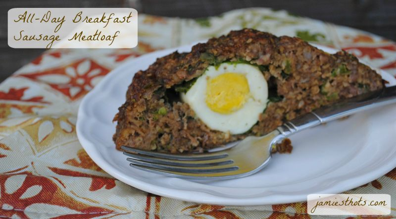 This all-day breakfast sausage meatloaf is good for fancy breakfast, brunch, lunch, or dinner. I would accompany it with country fried potatoes for breakfast and mashed potatoes and green beans for dinner.