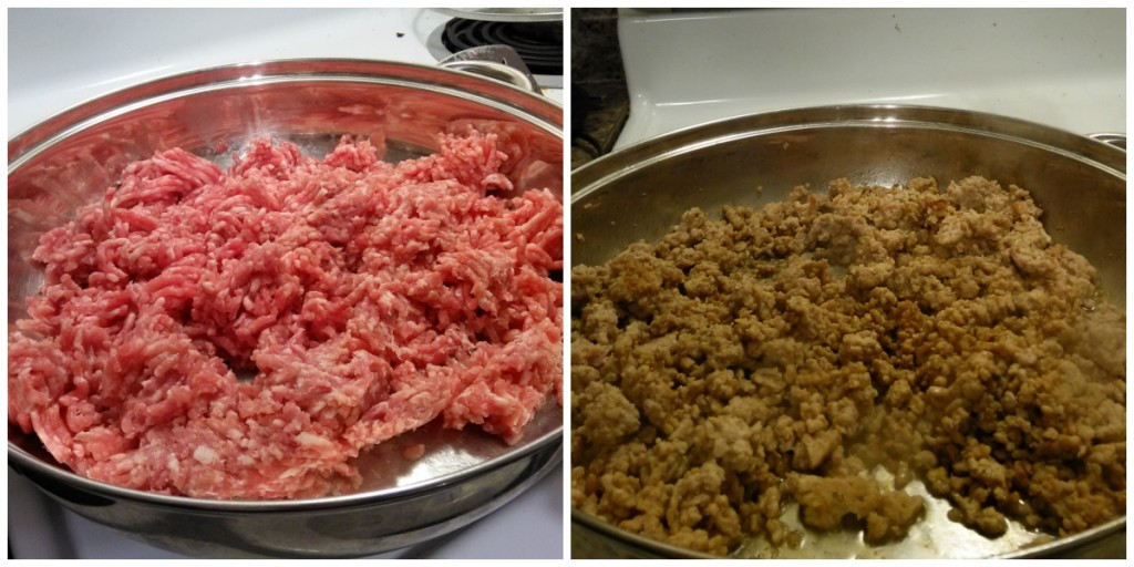 The left is raw ground pork. The right is once it has been browned. You can see it's lighter than beef (both in color and the amount of grease created).
