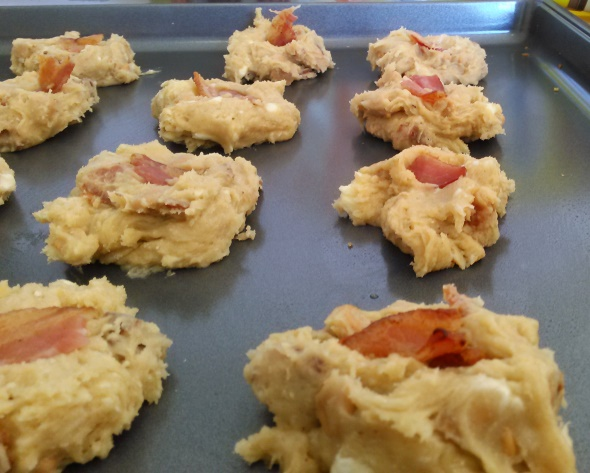 The maple bacon peanut butter cookies right before they go in the oven.