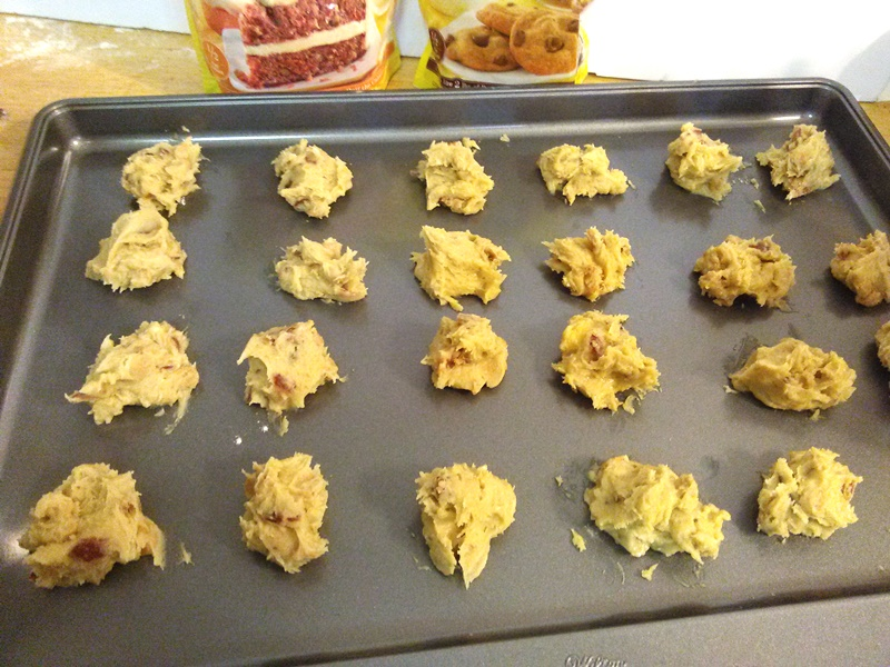 Place heaping tablespoons in even intervals on a non-stick baking sheet. I didn't need to use spray but use your own judgement.