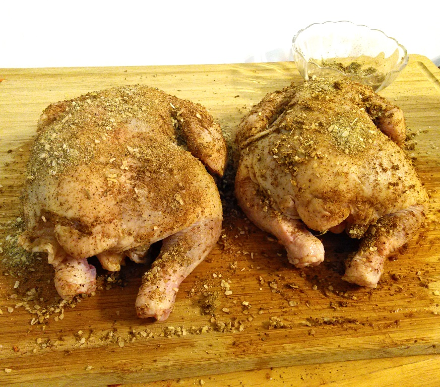 Gently rub the spice mixture evenly over the chickens, making sure you get all the crevices. The Tyson® All Natural Premium Cornish Hens don't have giblets so there's nothing to pull out of the neck.