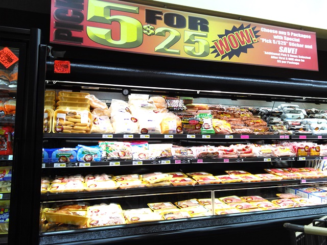 Our favorite, however, is the 5 for $25 feature. We usually stock up on ground pork, chicken drumsticks, and lean ground beef.