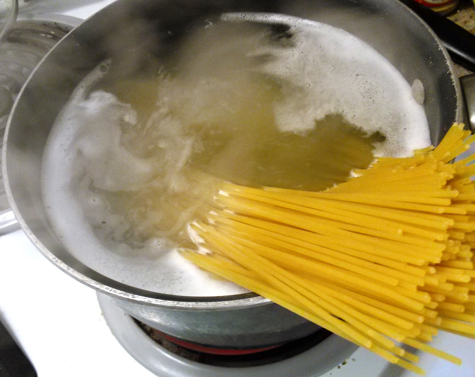 Cook enough pasta for the size of your pot. I add the spices after I'm able to fold all the spaghetti in the water. My husband breaks the spaghetti before putting it in the pot so either method works.