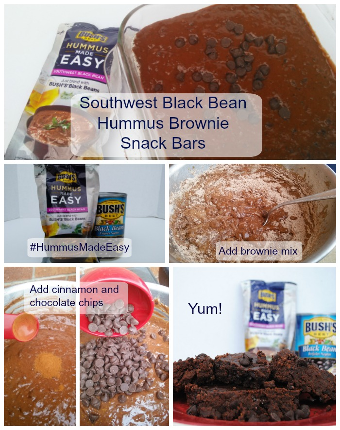 These Southwest Black Bean Hummus Brownie Snack Bars are quick and simple! Just blend the Hummus Made Easy mix with the Bush's Black Beans, add brownie mix, a little bit of cinnamon and chocolate chips, then bake. You can leave it unbaked and eat it like a sweet and savory dip (no raw eggs!).