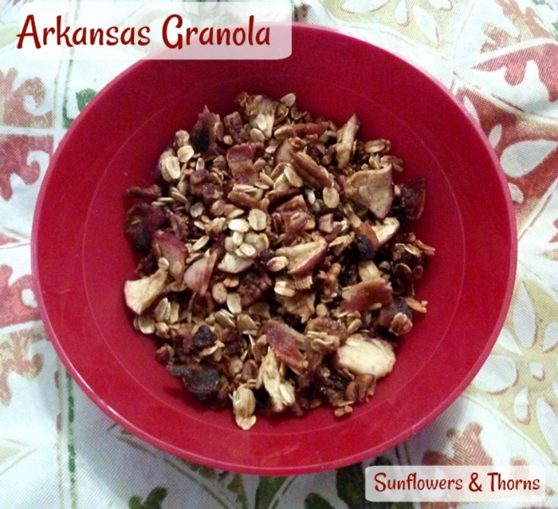 This granola features all Arkansas products including apples, Petit Jean bacon and pecans. The seemingly strange combination is quite delicious!