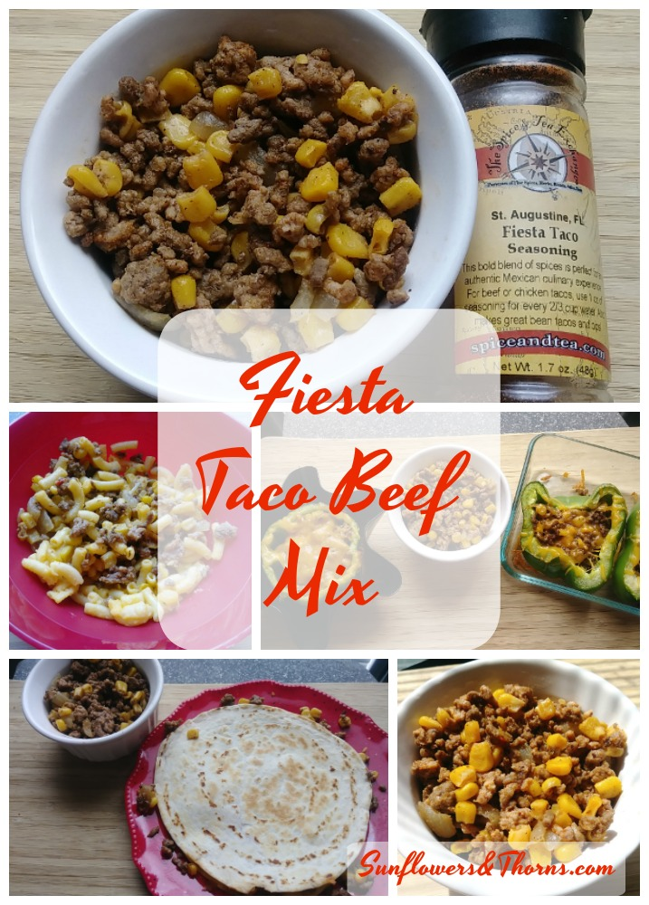 Bowl with a taco beef mix that includes corn, beef, seasoning and onions.