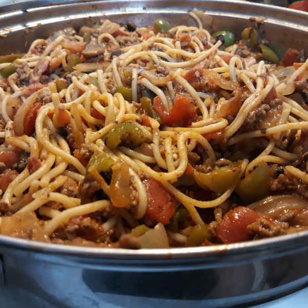 Bacon and Beef Spaghetti