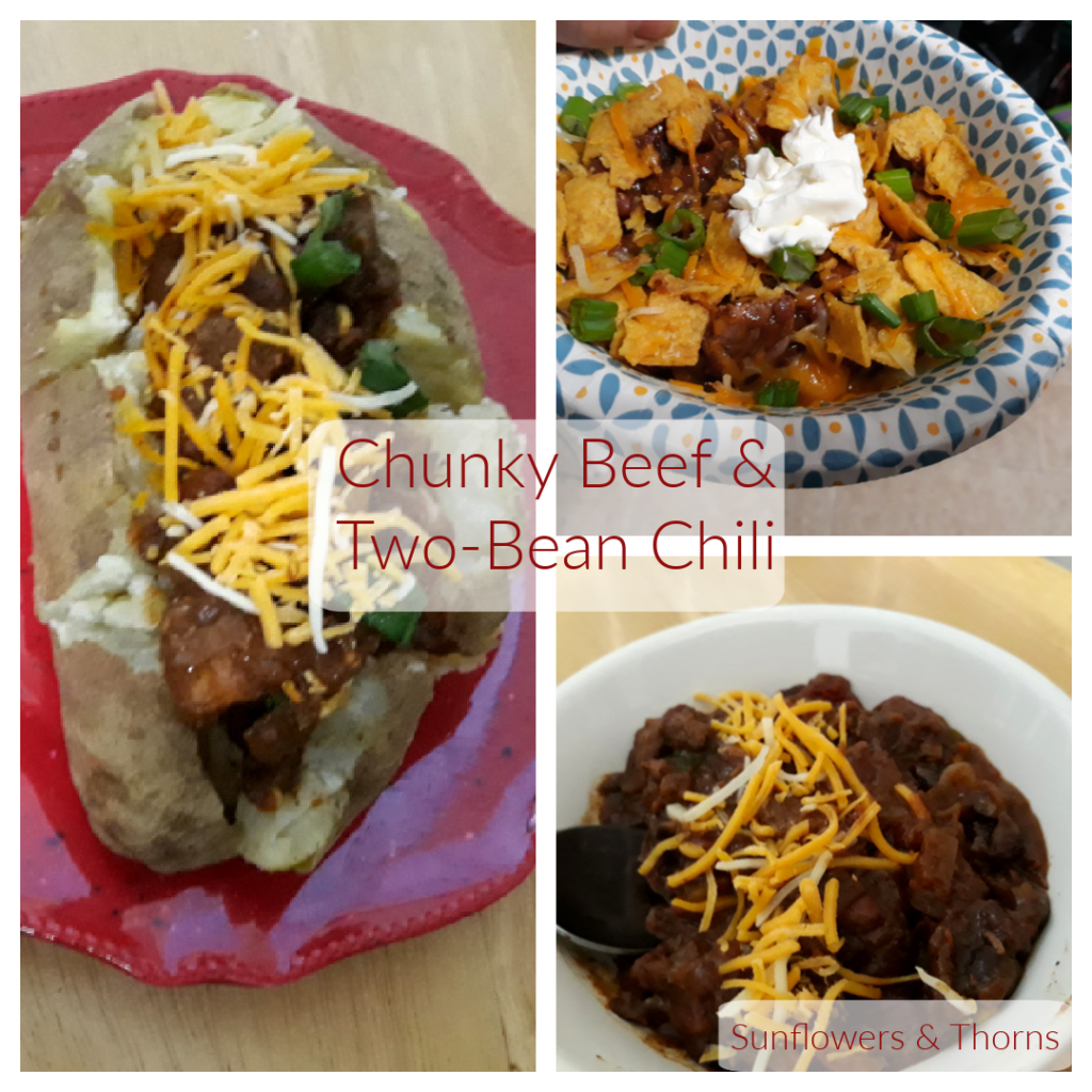 A collage of pictures that show different ways to serve chili